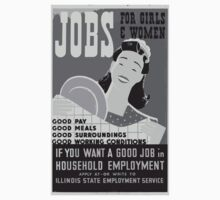 WPA United States Government Work Project Administration Poster 0431 Jobs for Girls and Women Pay Meals Surroundings Conditions Kids Tee