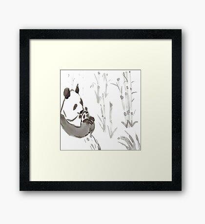 Panda Sumi-e  Framed Print
