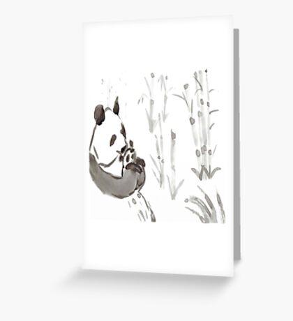 Panda Sumi-e  Greeting Card