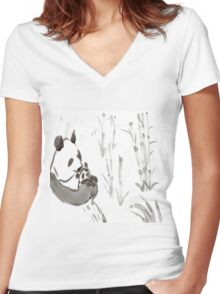 Panda Sumi-e  Women's Fitted V-Neck T-Shirt