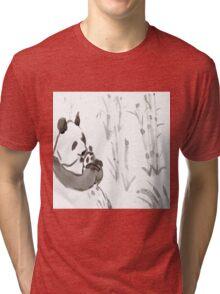 Panda Sumi-e  Tri-blend T-Shirt