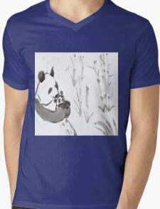 Panda Sumi-e  Mens V-Neck T-Shirt