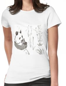 Panda Sumi-e  Womens Fitted T-Shirt