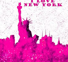 I LOVE NEW YORK - Color Pink by bill holkham