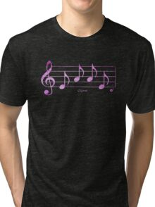 LOVE - Words in Music - Fuchsia Pink -  V-Note Creations Tri-blend T-Shirt