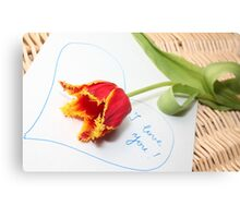 I love you with a tulip Canvas Print