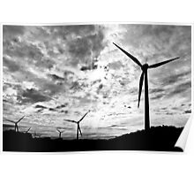 Windfarm - Black and White Poster