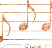 LOVE - Words in Music - Rust -  V-Note Creations Sticker