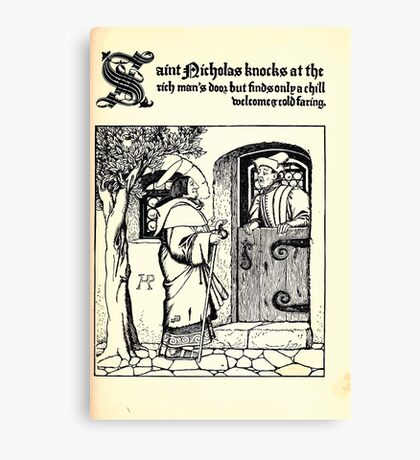 The Wonder Clock Howard Pyle 1915 0147 Saint Nicholas Knocks at the Rich Man's Door Canvas Print
