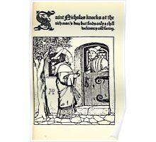 The Wonder Clock Howard Pyle 1915 0147 Saint Nicholas Knocks at the Rich Man's Door Poster