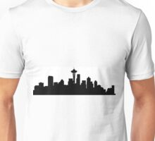 Black and White Seattle Skyline Unisex T-Shirt