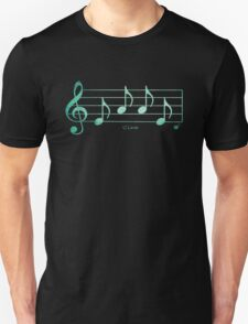 LOVE - Words in Music - Teal Green -  V-Note Creations Unisex T-Shirt