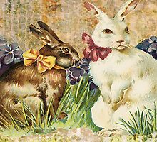 Victorian Easter Bunnies Rabbits In Grass by designsbycclair