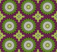 Kaleidoscope Flowers Design in Pink, Green, and White by Mercury McCutcheon