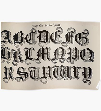 The Signist's Book of Modern Alphabets Freeman F Delamotte 1906 0023 Large Old English Riband Poster