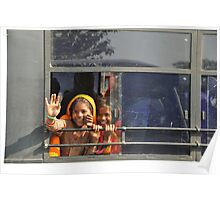 Girls waving from the bus window Poster