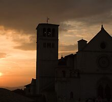 Basilica di San Francesco at sundown in Assisi by Ian Middleton