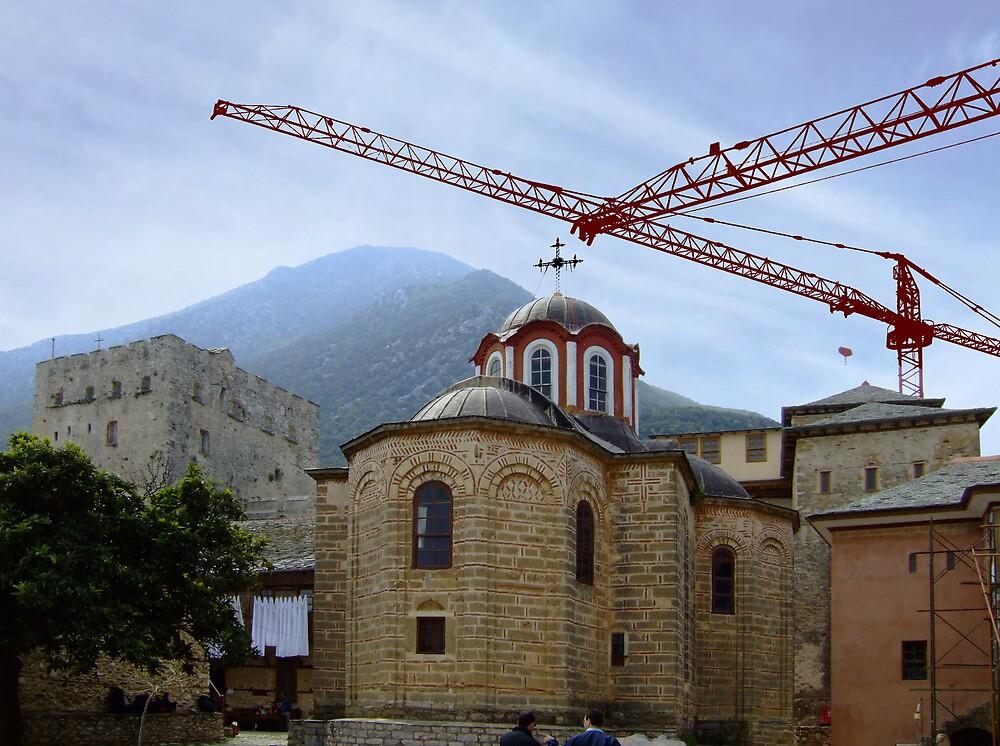 Mount Athos - cranes at Megisti Lavra by SvobodaT
