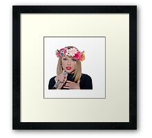 taylor swift with a flower crown Framed Print