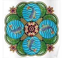Japanese Carp Mandala Poster