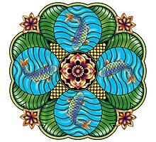 Japanese Carp Mandala Photographic Print