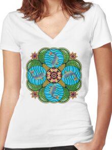 Japanese Carp Mandala Women's Fitted V-Neck T-Shirt