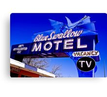 Blue Swallow Motel Neon Sign Canvas Print