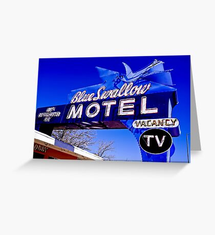 Blue Swallow Motel Neon Sign Greeting Card