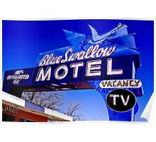 Blue Swallow Motel Neon Sign Poster