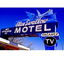 Blue Swallow Motel Neon Sign Photographic Print