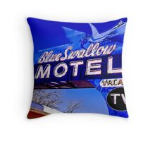 Blue Swallow Motel Neon Sign Throw Pillow