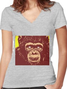 CHIMPANZEE-3 Women's Fitted V-Neck T-Shirt