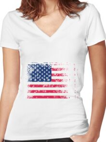 American flag with snowflakes grunge Women's Fitted V-Neck T-Shirt