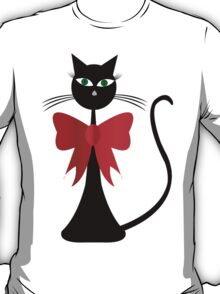Black stylized cat with red ribbon T-Shirt