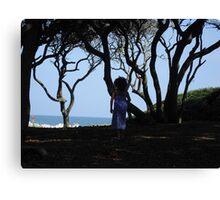 Precious Girl on a Fall Beach Day Canvas Print