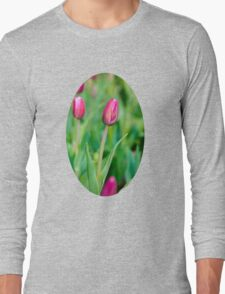 Colorful Pink Tulips Long Sleeve T-Shirt