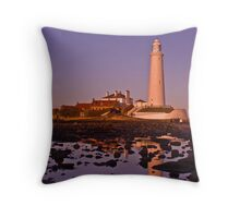 St Mary's Lighthouse Just Before Sunset Throw Pillow