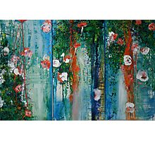 Waterlillies and Willows Triptych Photographic Print