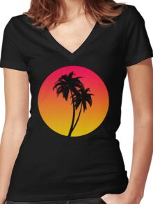 MASTER OF THE MIAMI SUNSET Women's Fitted V-Neck T-Shirt