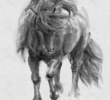 Black Horse sumi-e original watercolor painting by IrVia