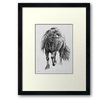 Black Horse sumi-e original watercolor painting Framed Print