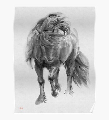 Black Horse sumi-e original watercolor painting Poster