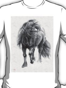 Black Horse sumi-e original watercolor painting T-Shirt