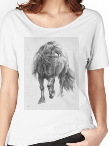Black Horse sumi-e original watercolor painting Women's Relaxed Fit T-Shirt