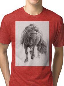 Black Horse sumi-e original watercolor painting Tri-blend T-Shirt