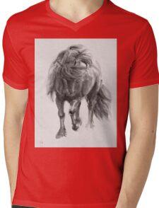 Black Horse sumi-e original watercolor painting Mens V-Neck T-Shirt