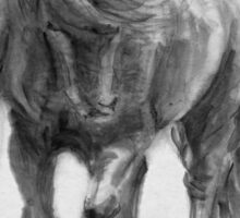 Black Horse sumi-e original watercolor painting Sticker