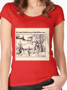 The Wonder Clock Howard Pyle 1915 0245 Casper Findeth Money in the Willow Tree Women's Fitted Scoop T-Shirt