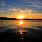 SUNSET ON LAKE OF THE WOODS  by Marie  Morrison