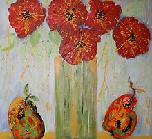 Red Flowers with Pears by Christine Clarke